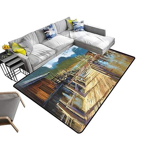 Amazon Com Contemporary Synthetic Rug Lake Bay Ocean River