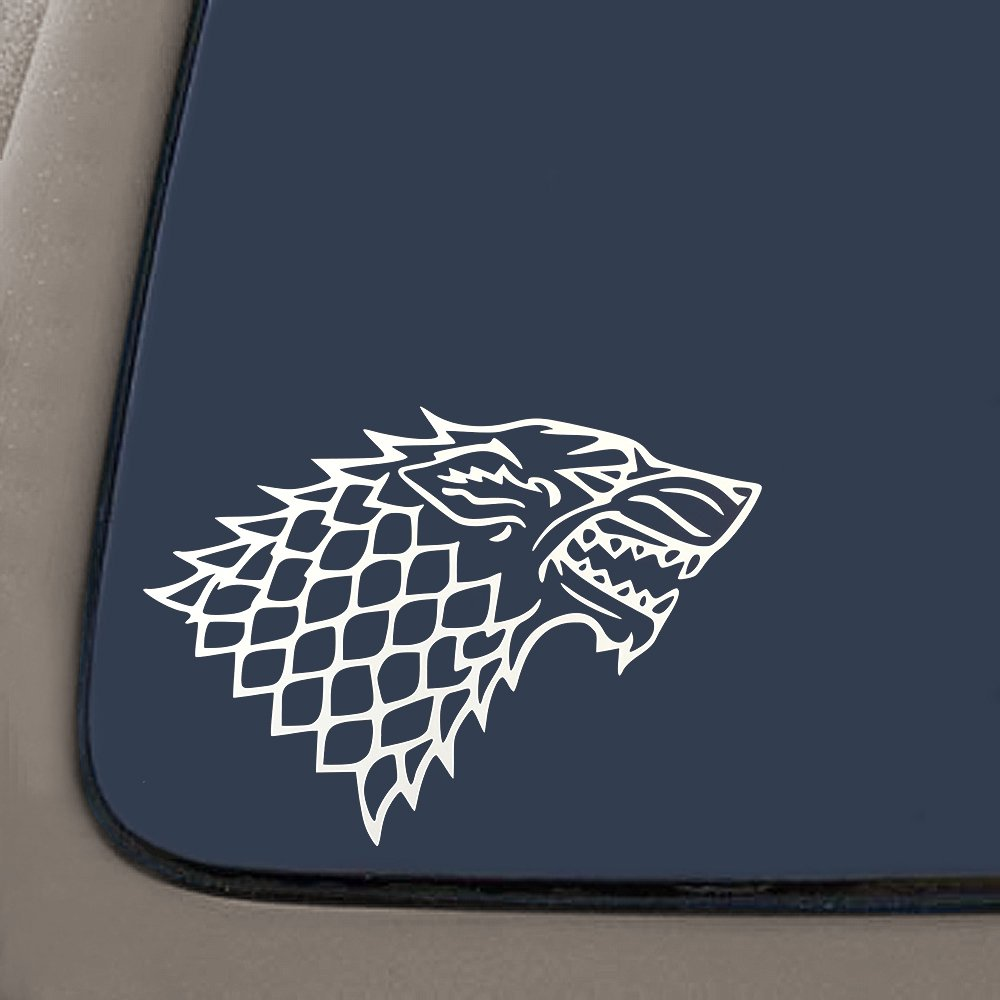 Premium Quality White Vinyl CMI 7-Inches By 4.8-Inches DD027 Stark Wolf Game Of Thrones Inspired Decal Sticker