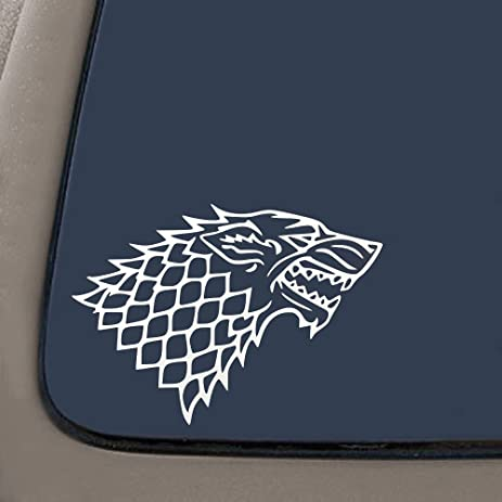 Dd027 stark wolf game of thrones inspired decal sticker 7 inches by 4 8