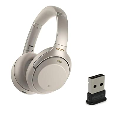 Sony WH1000XM3 Wireless Bluetooth Noise Canceling Over Ear Headphone Bundle  with Plugable USB 2 0 Bluetooth Adapter - Silver