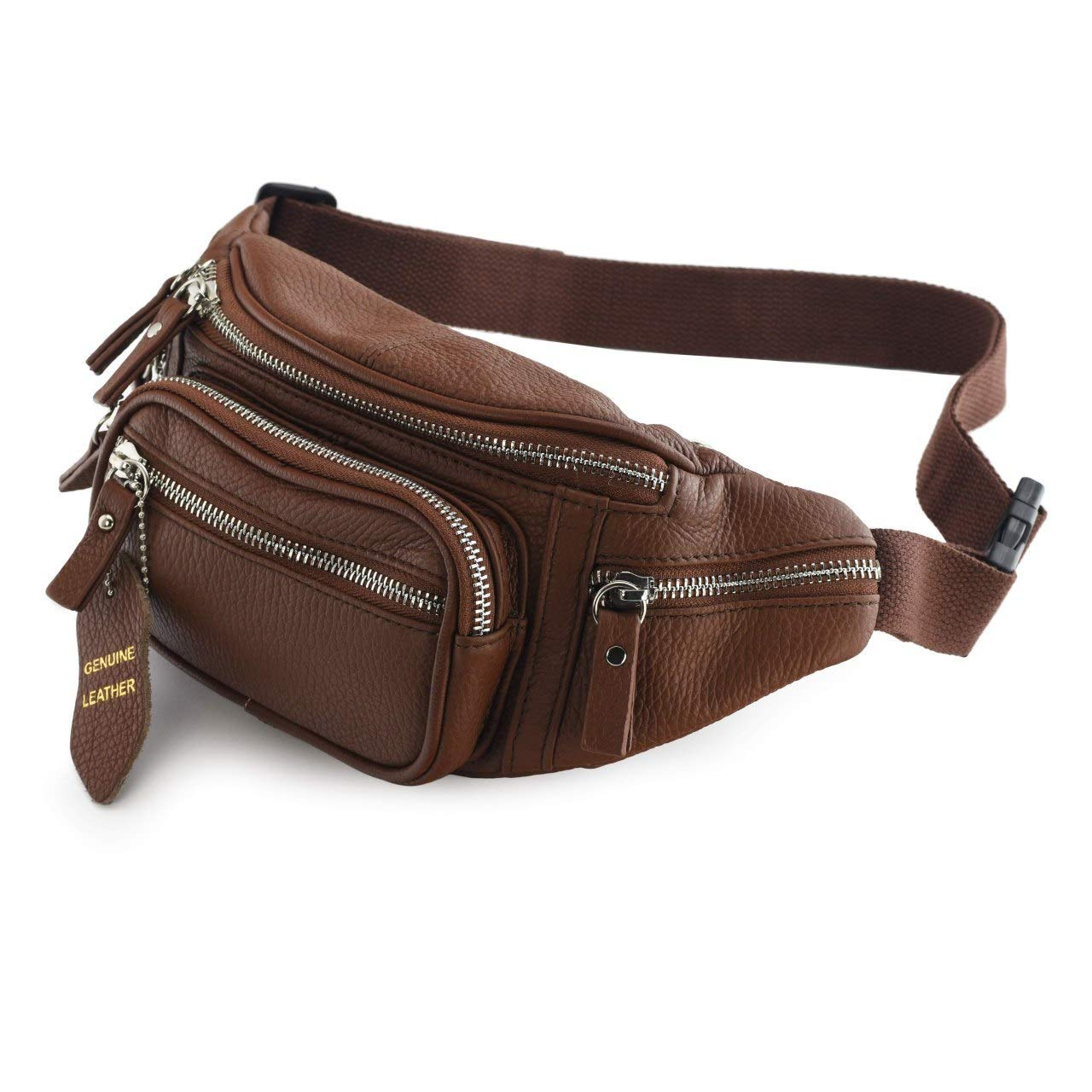 Nabob Leather Fanny Pack, Hip Bum Bag Mens Waist Bag, Unisex, Travel Pouch, Multiple Pocket, Perfect for Camping, Casual Running, Hiking, Cycling, Made (Brown) by Nabob Leather