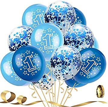 """5 Blue Pearlised  12/"""" Helium Quality AGE 1 BOY 1ST BIRTHDAY PARTY BALLOONS"""