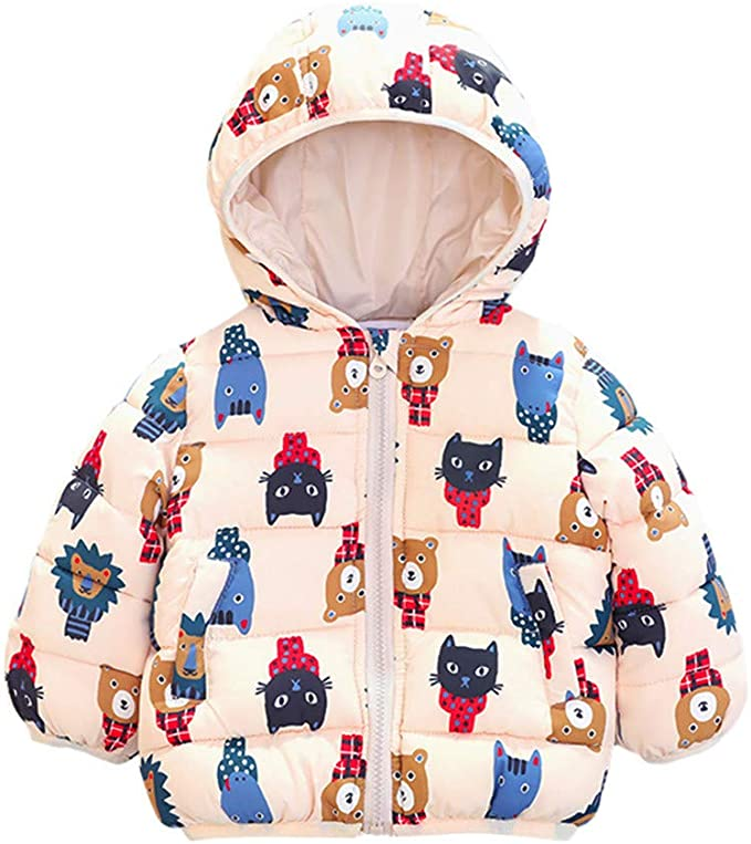 Dacawin Clearance Girl Boy Cartoon Print Winter Warm Long Sleeve Cotton Jacket Hooded Windproof Coat