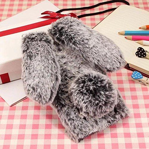 iPhone X Fur Rabbit Case,iPhone 10 Case,Jesiya luxury Cute Toy Warm Handmade Bunny Furry Soft Rabbit Fur Hair Plush Ultra Thin Soft TPU Case For iPhone ()