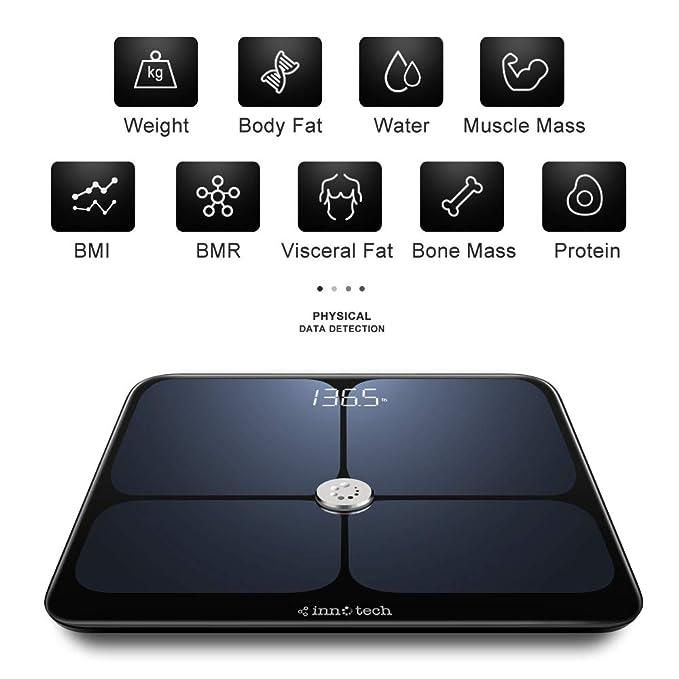 Innotech - Báscula digital de baño con Bluetooth y monitor de ...