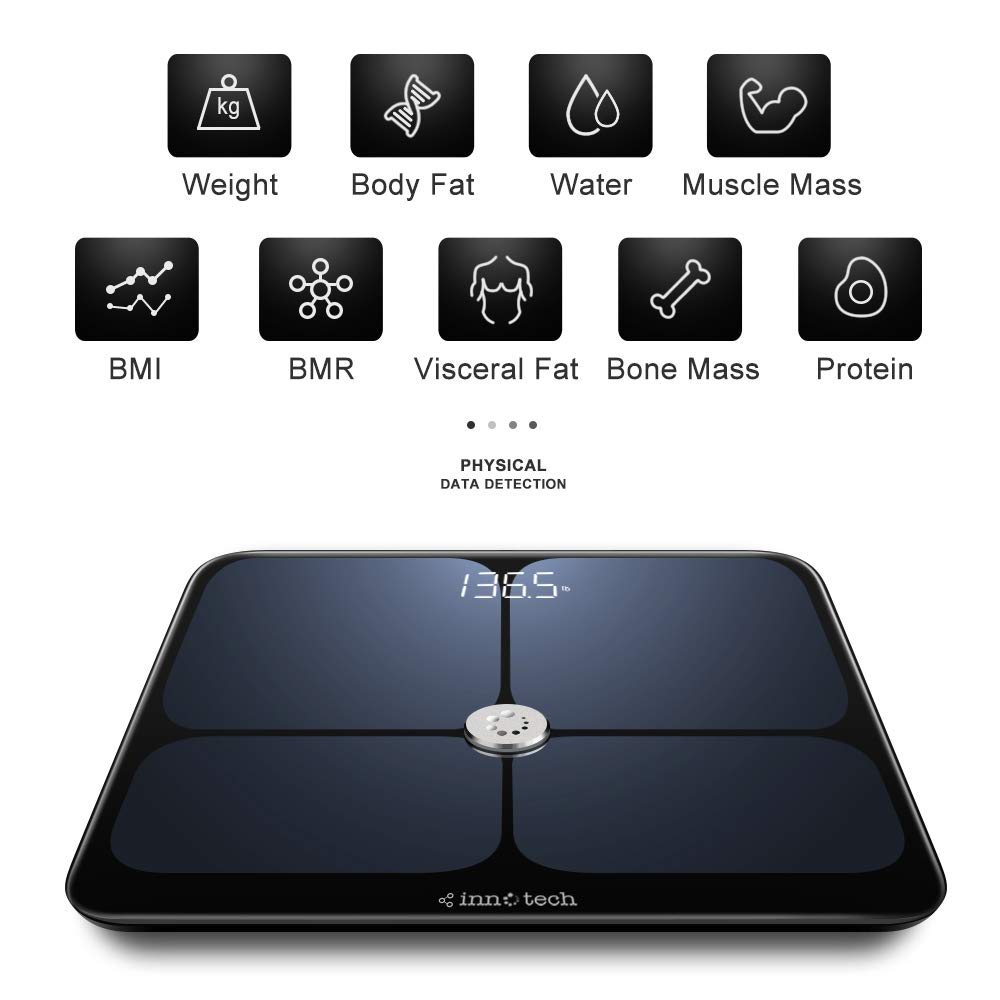 Innotech Smart Bluetooth Body Fat Scale Digital Bathroom Weight Weighing Scales Body Composition BMI Analyzer & Health Monitor with Free APP, Compatible with Fitbit, Apple Health & Google Fit by Innotech (Image #2)