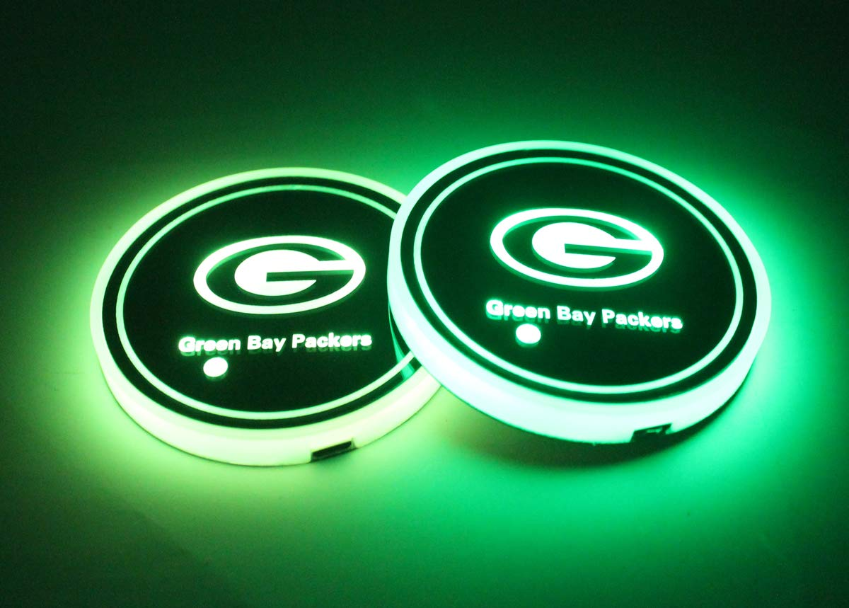 We are The Most Loyal Fans 2pcs LED Car Cup Holder Lights for Green Bay Packers LED Interior Atmosphere Lamp 7 Colors Changing USB Charging Mat Luminescent Cup Pad
