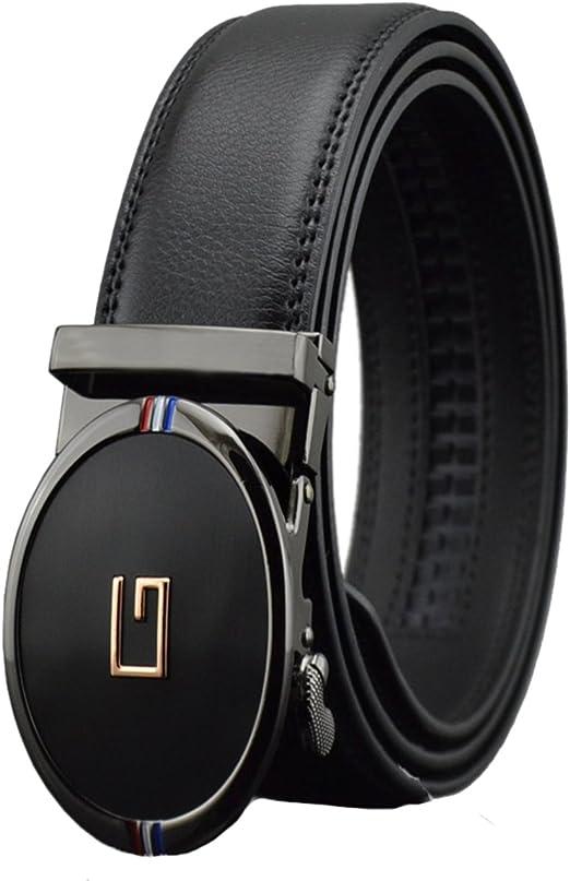 Mens Genuine Leather Belts Automatic Buckle G Belts Black Waist Strap