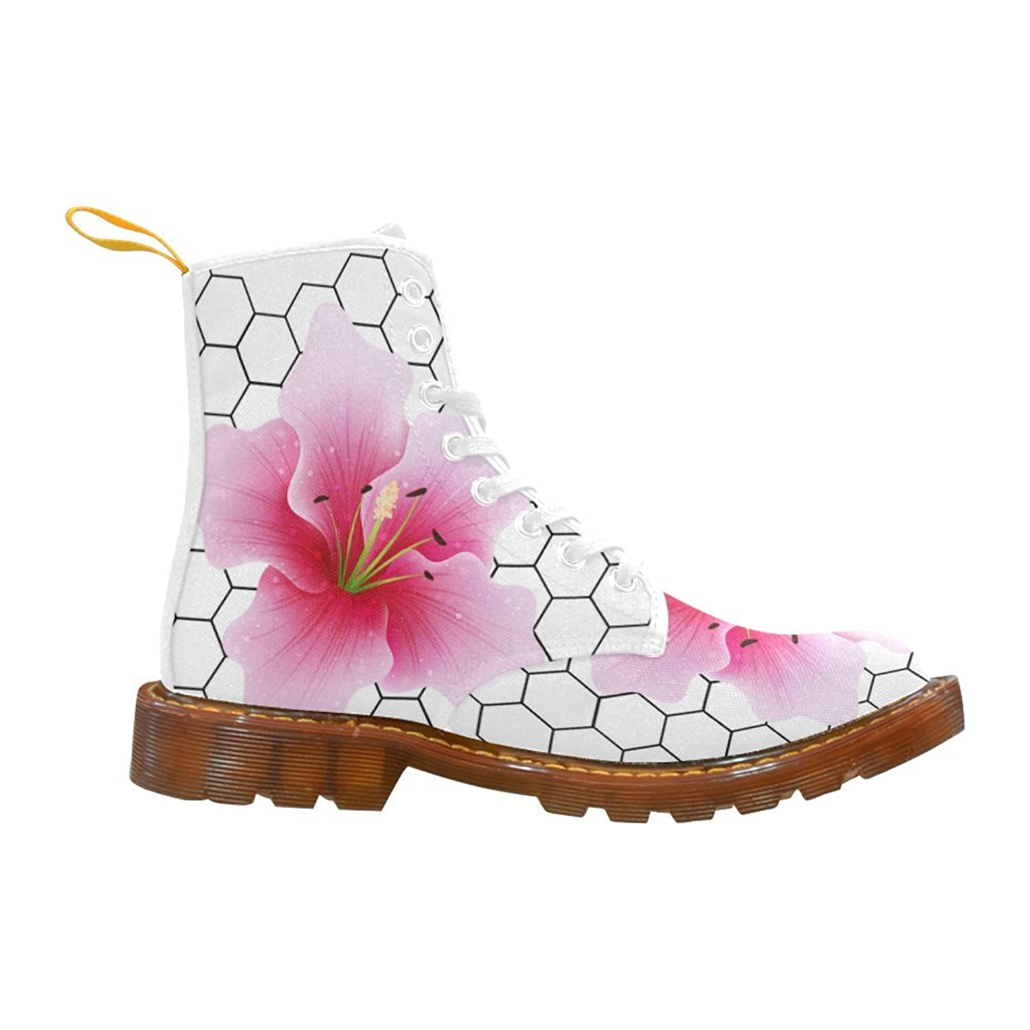 Shoes Pink Flower On Honeycomb Grid Hexagon Patterns Lace Up Martin Boots For Women