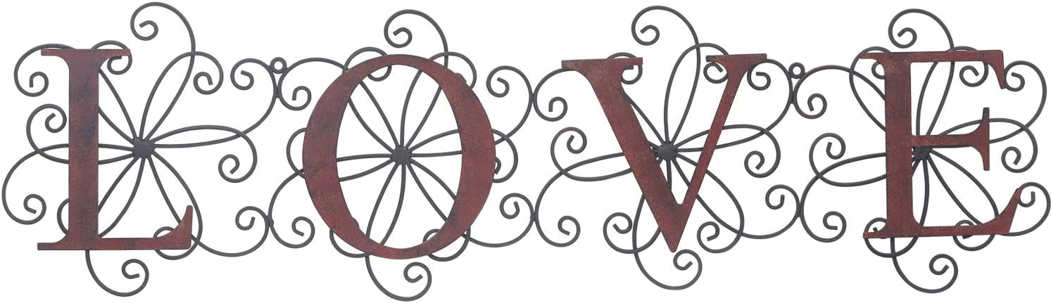 Adeco Metal LOVE Sign Ornate Plaque, Front Door, Porch, Patio, and Entryway Decor | Indoor and Outdoor Wall Hanging Home Decoration