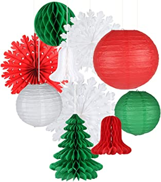 Easy Joy Retro Christmas Decorations Set Snowflake Paper Fans Jingle Bell Xmas Tree Honeycomb Hanging Ceiling Wall Decor Party Supplies Photo Back Drop Set Of 10 Amazon Co Uk Toys Games