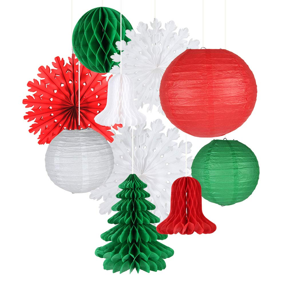 Unique Party 63550-40cm Hanging Honeycomb Red Bell Christmas Decoration