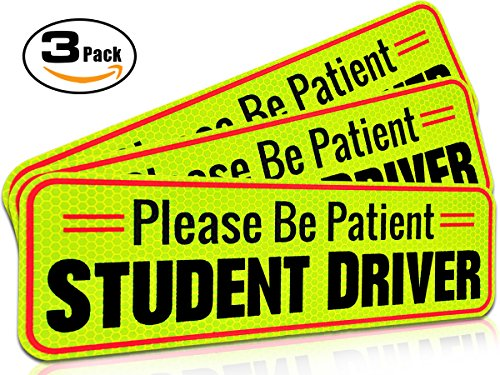 Student Driver Magnet Car Signs for the Novice or Beginner. Better than A Decal or Bumper Sticker (Reusable) Reflective Magnetic Large Bold Visible Text (10' Be Patient Reflective)