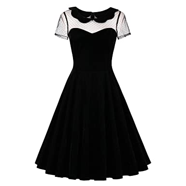 Trendy-Nicer Dress Black Vintage 1950s Summer Peter pan Collar Gothic 2018 40188c5c2