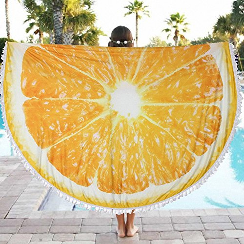 DueWork 59'' Large Round Fruit Lemon Yellow Hippie Bohemian Beach Towel Yoga Mat Tapestries Blanket Swimwear Cover Up