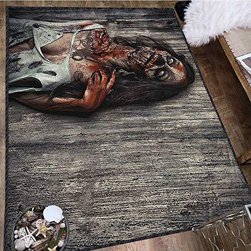 Zombie Printed Carpet,Angry Dead Woman Sacrifice Fantasy Design Mystic Night Halloween Image Environmental Protection Fabric Dark Taupe Peach Red 63