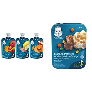 Gerber Assorted Fruit Toddler Pouch Variety Pack (Pack of 18) & Mashed Potatoes with Meatloaf & Gravy and a side of Carrots, Peas and Corn, 6.67 oz., 8 Count