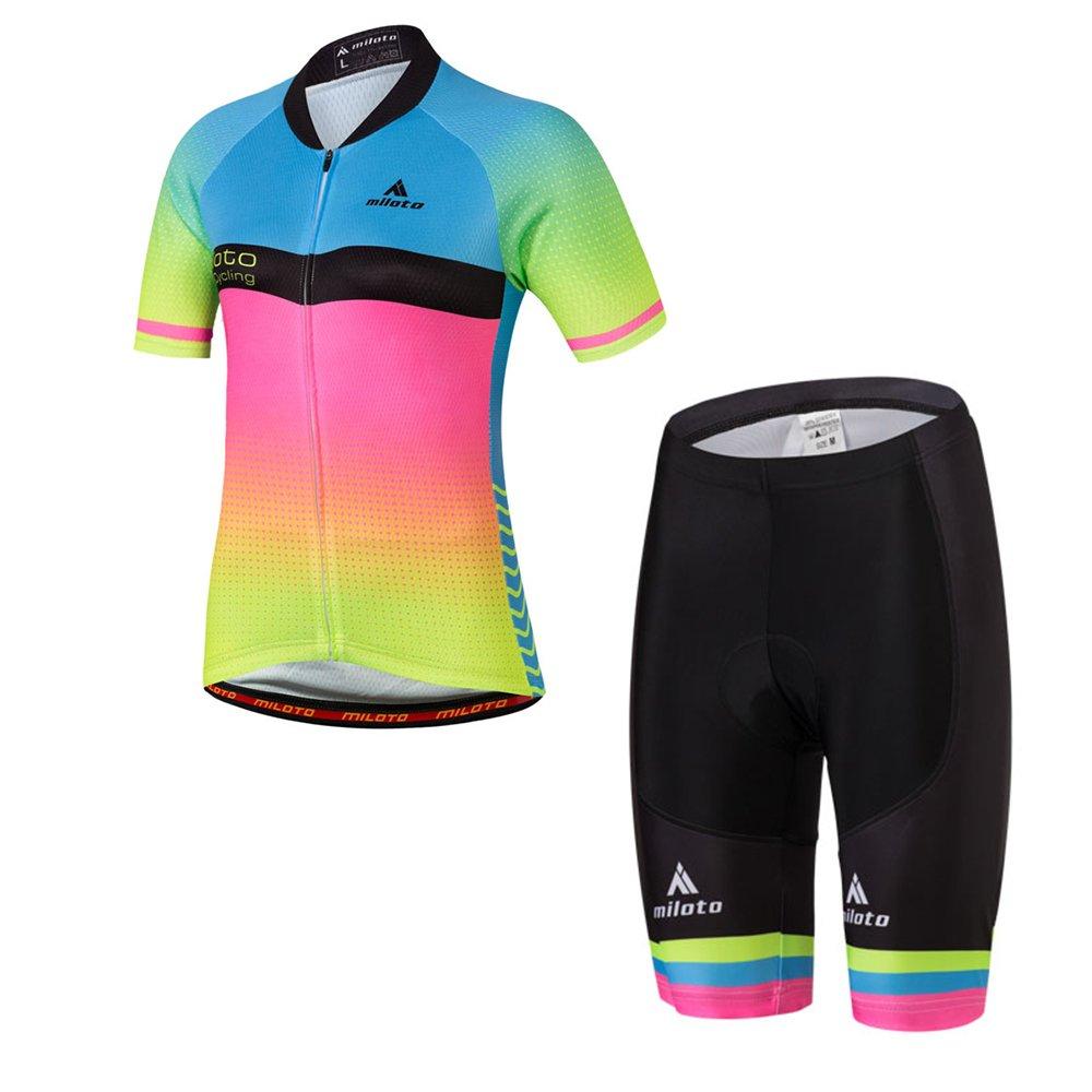 Gradient2 MILOTO Women's Cycling Jersey Reflective Shirt Padded Shorts Set