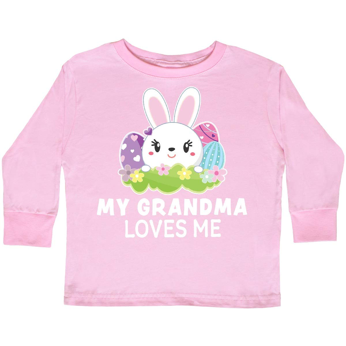 inktastic My Grandma Loves Me with Bunny and Easter Toddler Long Sleeve T-Shirt