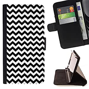 Dragon Case - FOR Apple Iphone 5C - Black and white small waves - Caja de la carpeta del caso en folio de cuero del tir¨®n de la cubierta protectora Shell