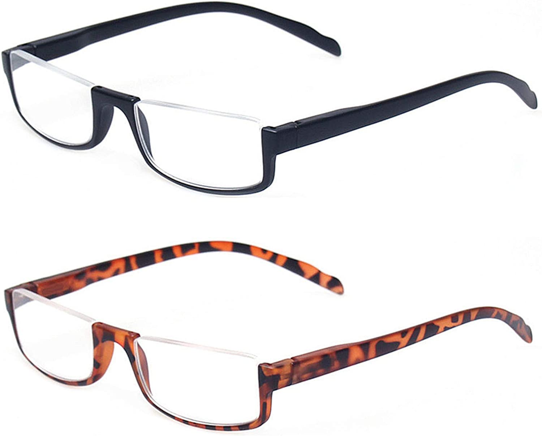Kerecsen 2 Pair Half Moon Frame Reading Glasses Spring Hinge Men and Women Readers