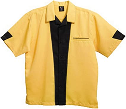 Mens Vintage Bowling Shirt Light Blue Contrast Casual Button Down Collar Shirt