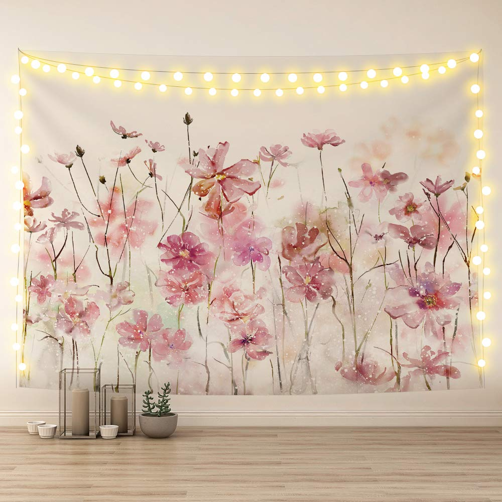 Sumgar Pink Flowers Tapestry Wall Hanging Romantic Floral Wildflower Plants Nature Scenery Tapestries Decoration For Bedroom Living Room 80 X 60 Inch Buy Online In Aruba At Aruba Desertcart Com Productid 222943409