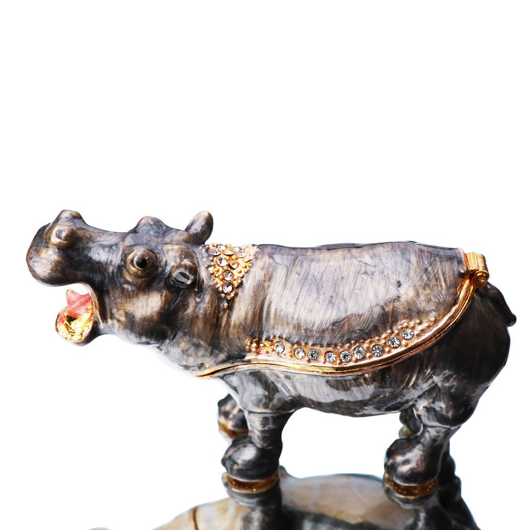Waltz&F Cute Hippo Trinket Box Hinged Hand-Painted Figurine Collectible Ring Holder with Gift Box