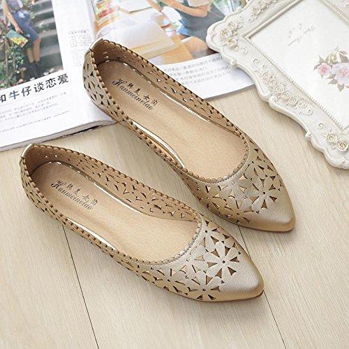 &huo Sandalias huecas, zapatos con punta plana, zapatos transpirables, zapatos de moda 38