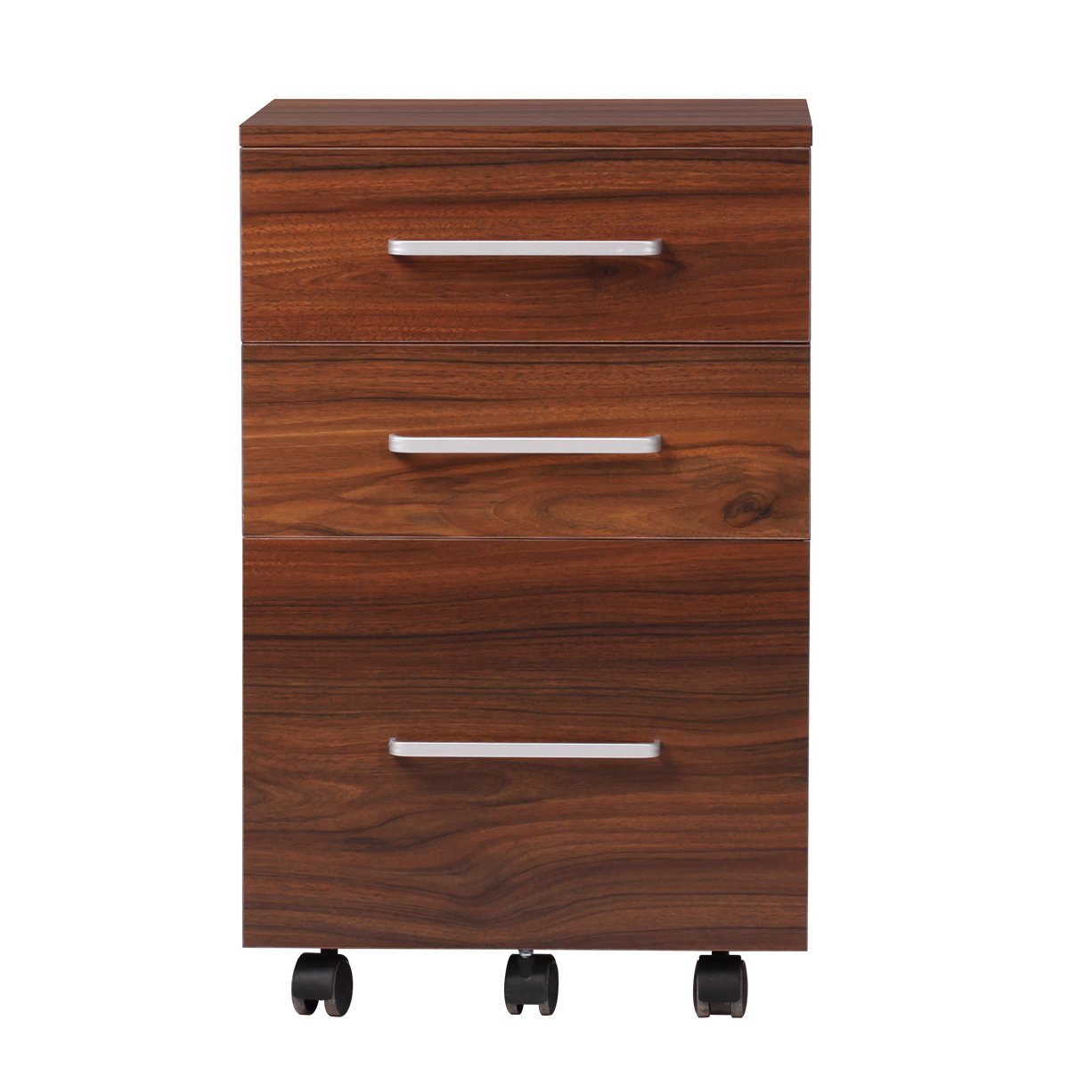 DEVAISE 3 Drawer Lateral Wood Mobile Filing Cabinet, Letter size, Walnut