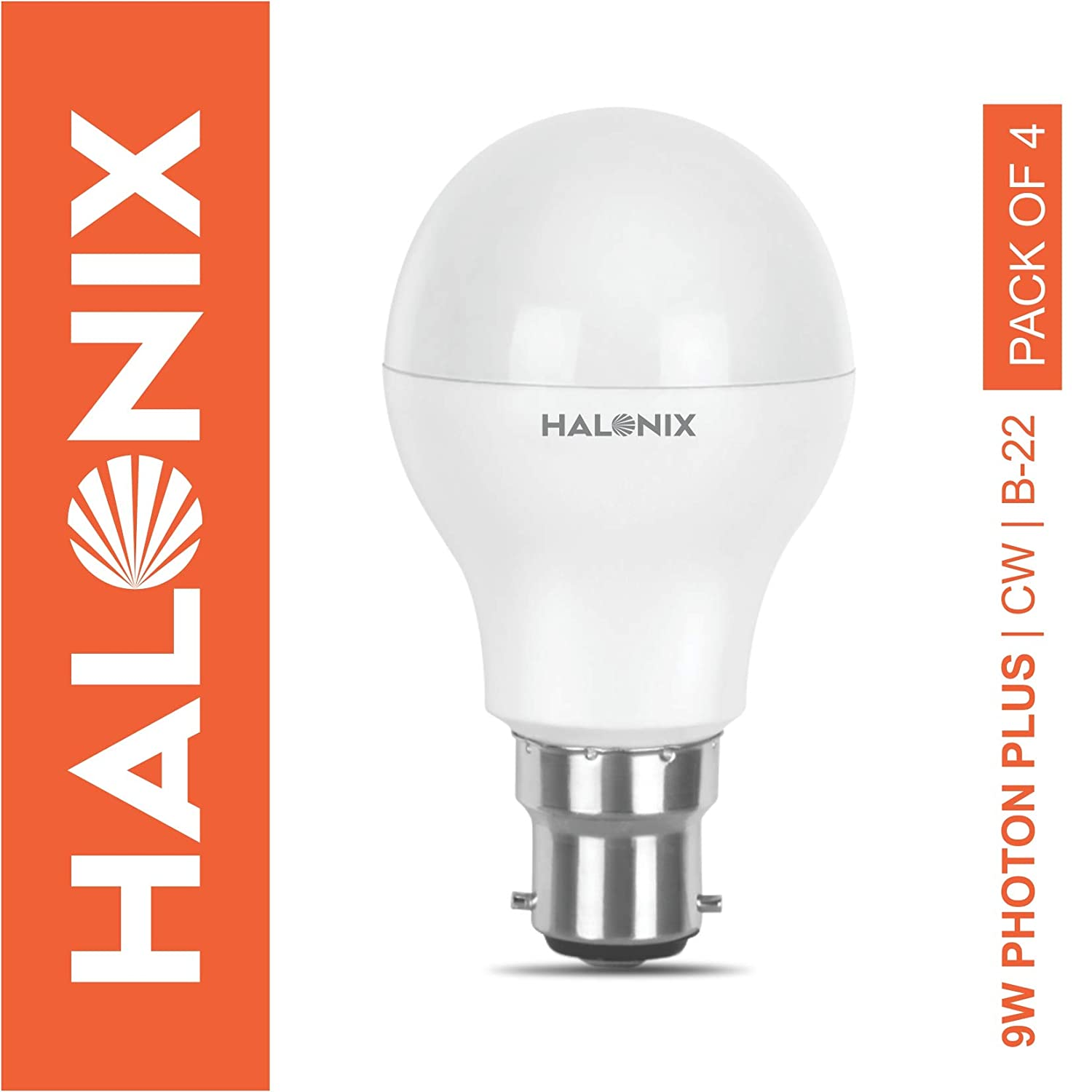 Halonix Photon Plus Base B22 9-Watt LED Bulb (Pack of 4, Cool Day Light)