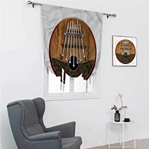 "Roman Window Shades Kalimba Tie Up Shades for Windows Historical Nigerian African 30"" Wide by 64"" Long"