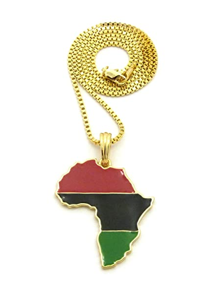 pan african colored africa map pendant 24 various chain necklace in