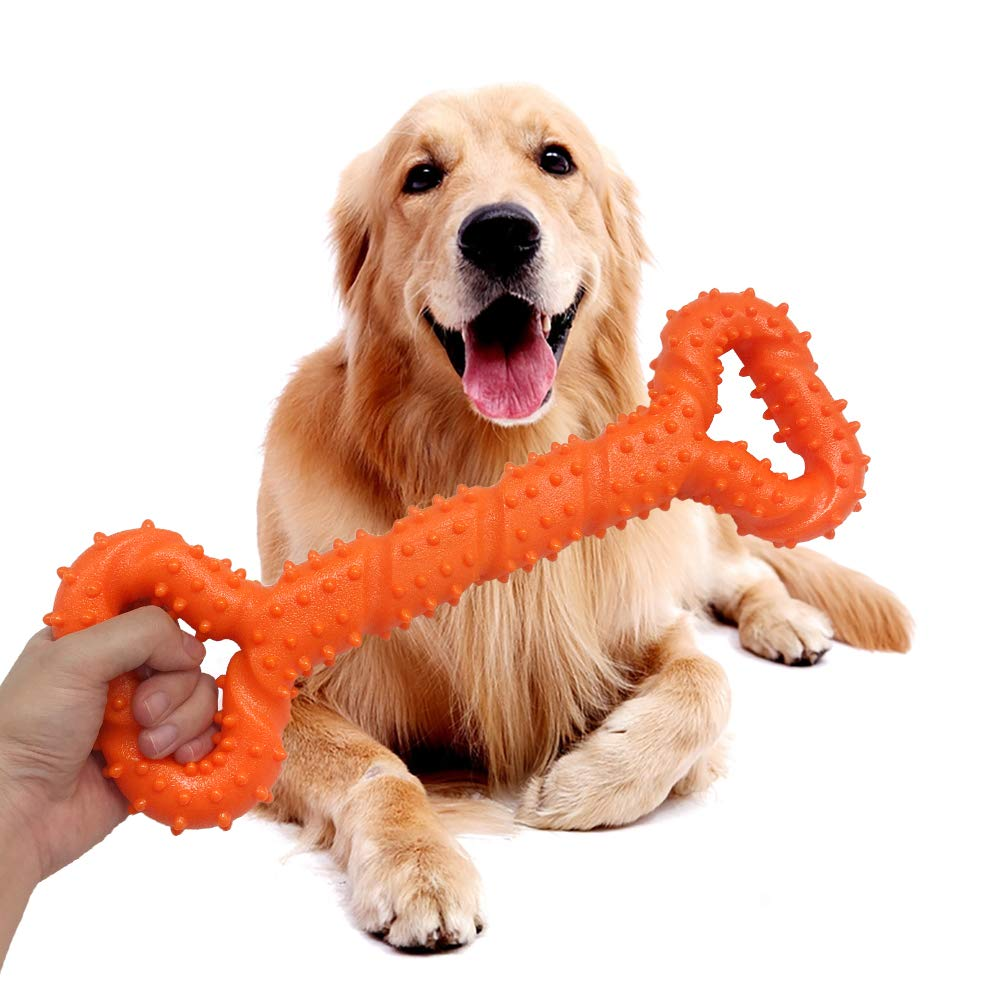 Dog Chew Toys Fanng Durable Dog Chew Toys 13 Inch Bone Shape Dog Toys Aggressive Chewers Extra Large Dog Toys Strong Tug Convex Design Medium Large Dogs Non-Toxic Tooth Cleaning