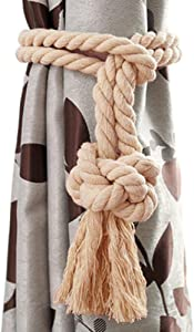 ZebraSmile 1 Pair Curtain Holdbacks Hand Made Decor Draperies Accessory Tieback Cotton Rope Decoration Sheer Drapes with Tassel Tie Panel Holder for Bedroom Outdoor French Door Blackout Curtain Beige