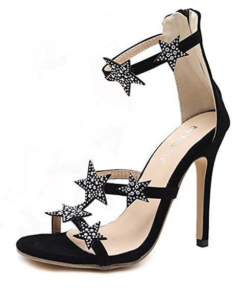 dc718b23572982 Aisun Damen Offene Zehen Glitzer Strass Sterne Knöchelriemchen Stiletto  Sandale mit Reißverschluss Schwarz 35 EU