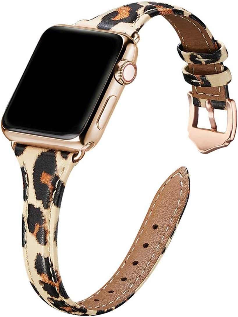 WFEAGL Leather Bands Compatible with Apple Watch 38mm 40mm 42mm 44mm, Top Grain Leather Band Slim & Thin Replacement Wristband for iWatch SE & Series 6/5/4/3/2/1 (Leopard/Gold, 38mm 40mm )