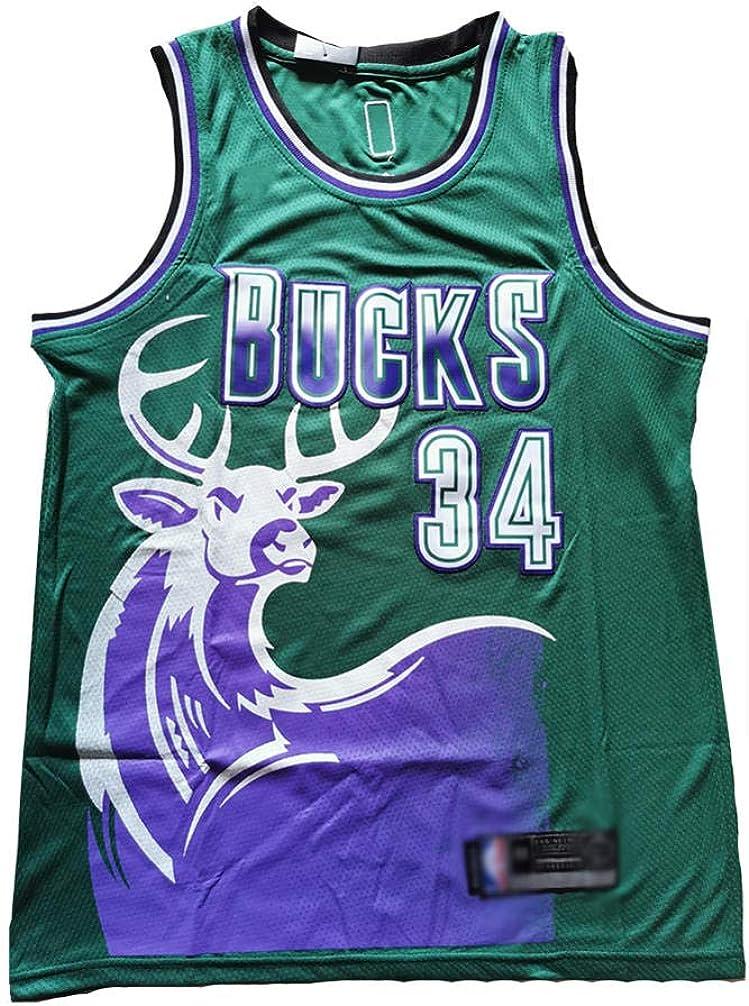 BCGG/® Maglia Bucks # 34 Giannis Antetokounmpo Maglietta Senza Maniche Gilet da Basket Testa di Cervo retr/ò Versione Boutique Ricamo Top Ragazzi