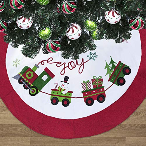 Valery Madelyn 48 inch Red Green White Velvet Christmas Tree Skirt Decorations with Snowman and Terry Trim, Theme with Classic Collection Splendor Christmas Ornaments (Not Included)