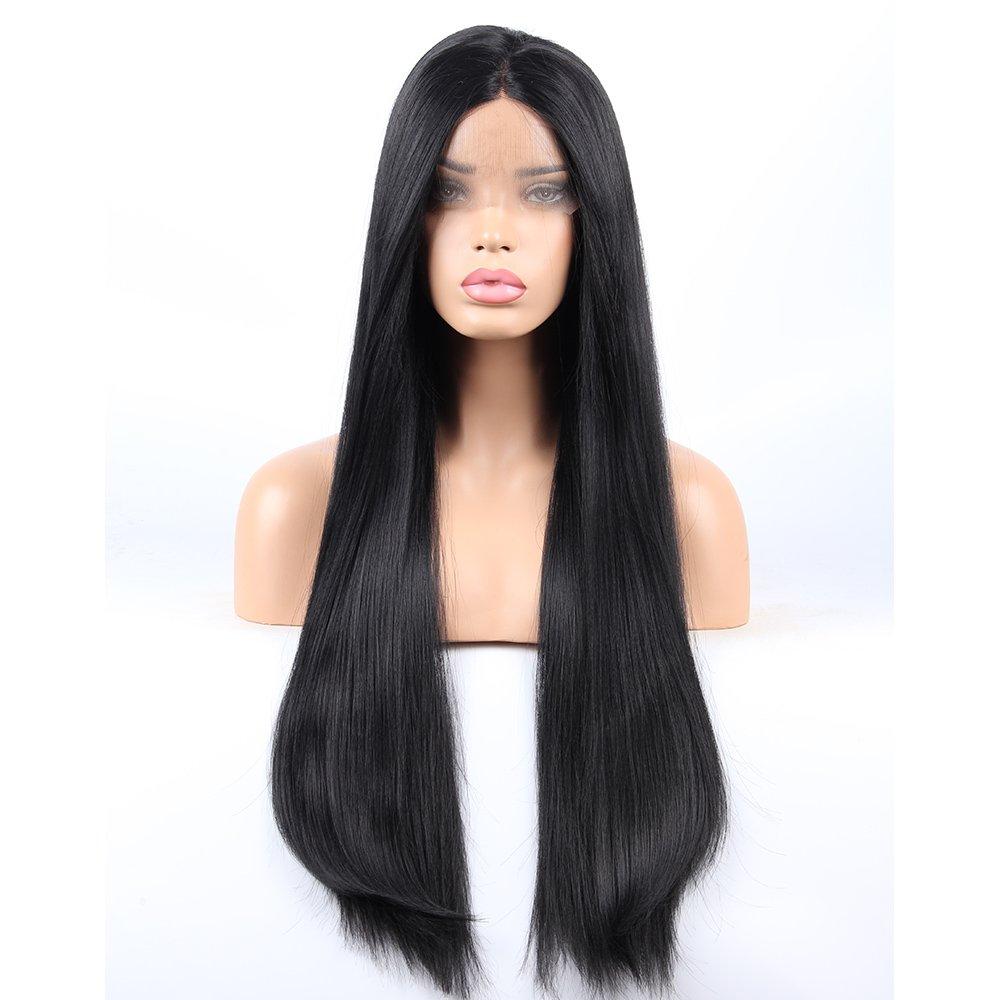 Amazon.com   vvBing Lace Front Wigs Women Long Yaki Straight Black Wig  Glueless With Baby Hair Heat Resistant Fiber Hair Half Hand Tied 24inch    Beauty 349da1c44