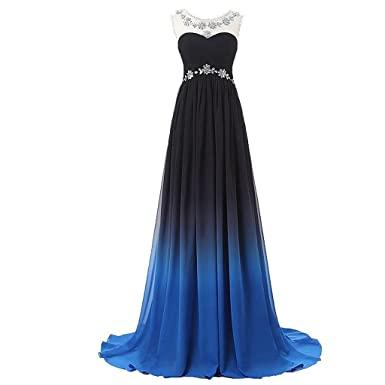 Lemai Long A Line Beaded Gradient Ombre Chiffon Formal Prom Evening Dresses
