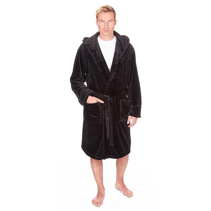 Pierre Roche - Big & Tall Men\'s Fleece Hooded Bathrobe with Pockets ...