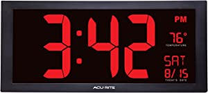 AcuRite 75100 Oversized LED Clock with Indoor Temperature, Date and Fold-Out Stand