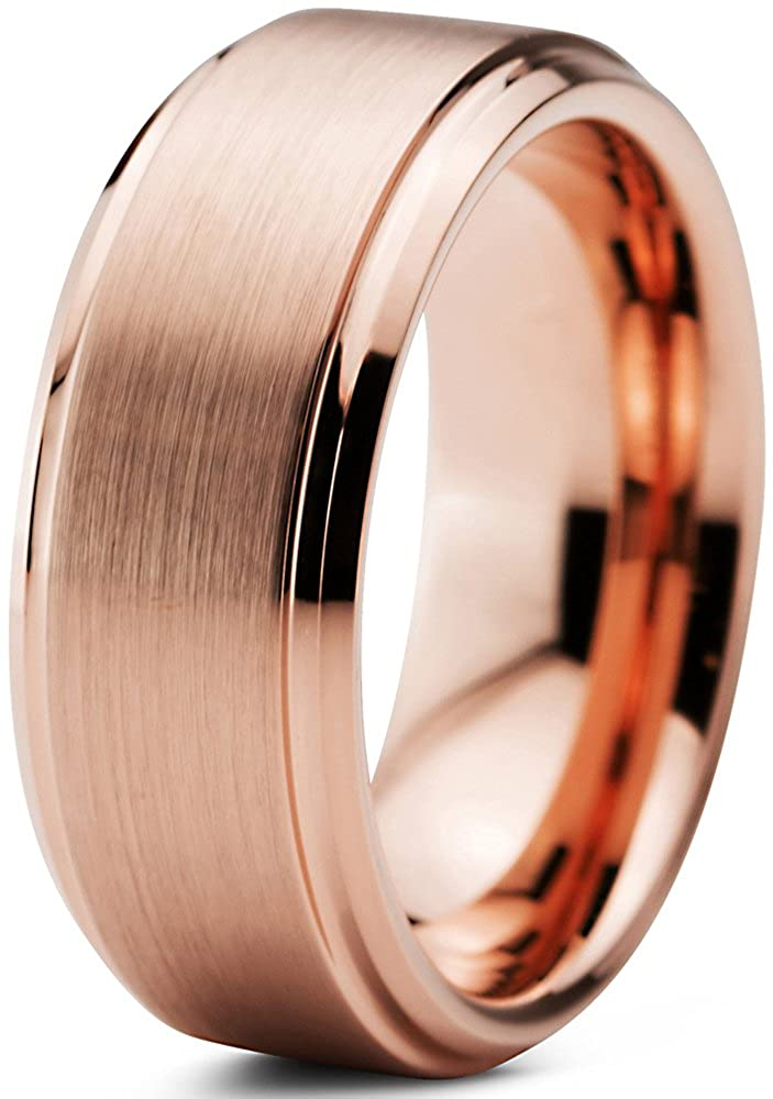 Tungsten Wedding Band Ring 8mm for Men Women Comfort Fit 18K Rose Gold Plated Beveled Edge Brushed Polished Charming Jewelers CJCDN-373