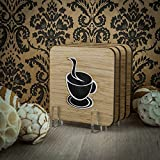 Drink Coasters in Oak Wood Rounded Square Shape Inserted Acrylic Coffee Ornament Wooden Coaster Non Coated - Set of 4