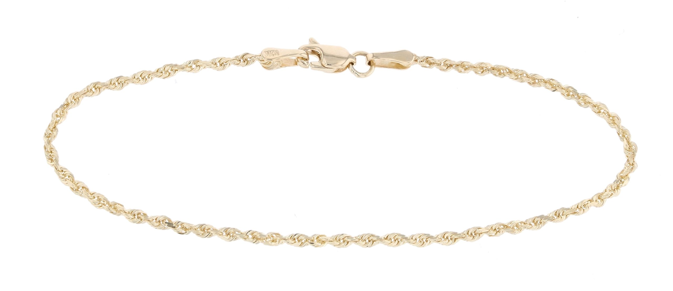 10 InchThin Solid Diamond Cut Rope Chain Bracelet and Anklet - 10k Yellow Gold - 2mm (0.08'')
