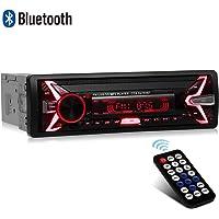 WesKimed Autoradio Bluetooth, 1 Din Radio de Voiture Audio, 7 Couleurs Stereo FM Radio 4x60W Poste Radio Voiture Soutien Bluetooth/USB/SD/AUX/EQ / MP3 / TF + Télécommande (Panneau détachable)