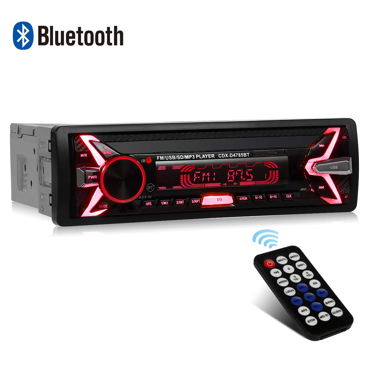 WesKimed Autoradio Bluetooth, 1 Din Radio de Voiture Audio, 7 Couleurs Stereo FM Radio 4x60W Poste Radio Voiture Soutien Bluetooth/USB/SD/AUX/EQ / MP3 / TF + Télécommande (Panneau détachable) product image