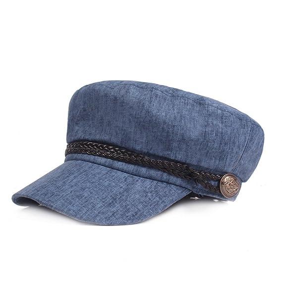 Gysad Gorra Marinero Mujer Vintage Sombrero Hombre Algodón y Lino Gorras Planas Unisex Boina Newsboy Hat Size 56-58CM (Azul): Amazon.es: Ropa y accesorios