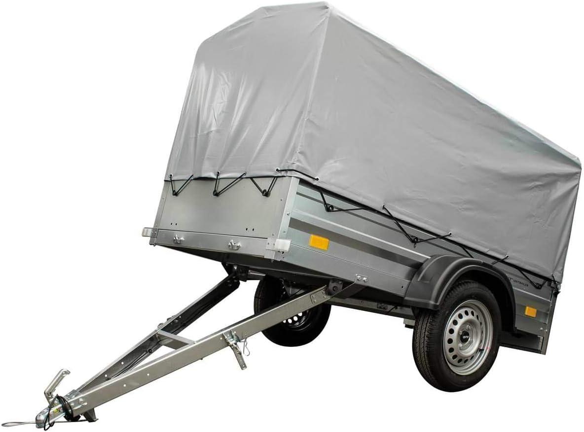 Unitrailer Pkw Anhänger Garden Trailer 200 Mit Kippbarer Deichsel Set Mit Hochspriegel Und Hochplane Ladefläche 200x106 Cm 750 Kg Auto